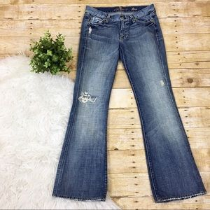7 For All Mankind | Distressed Denim Flare Jeans